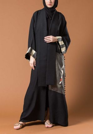 Open Bisht With Printed Patch