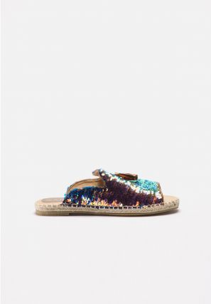 A sequins strap, rope-wrapped platform open toe espadrille mule